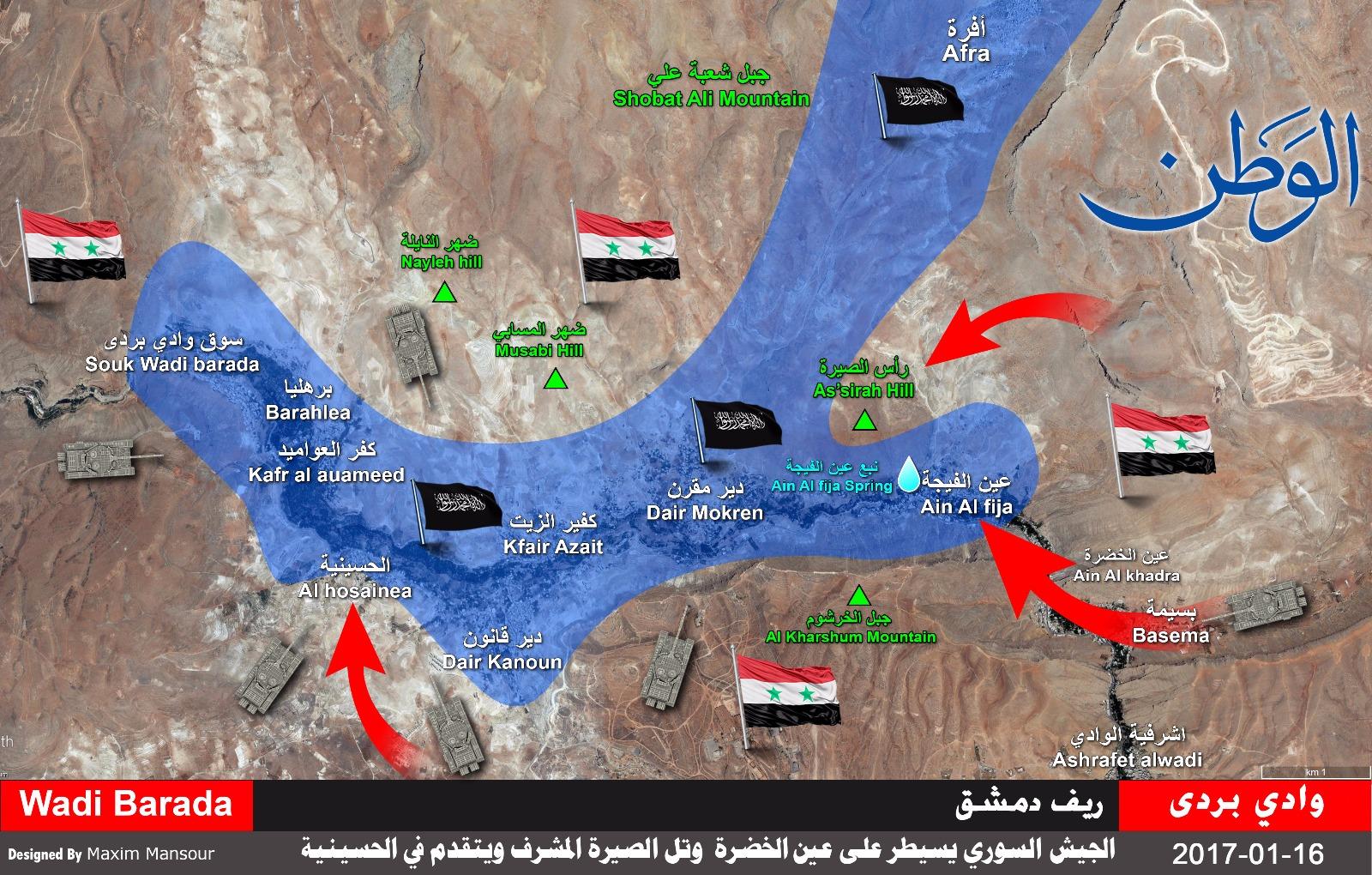 Photo of بالخريطة الميدانية: الجيش يسيطر على عين الخضرة وراس الصيرة ويتقدم في الحسينية بريف دمشق