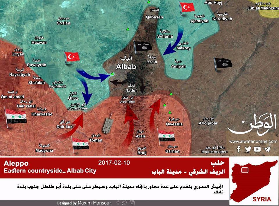 """Photo of بالخريطة: تفاصيل الواقع الميداني على جبهة """"الباب"""" شمال شرق حلب"""