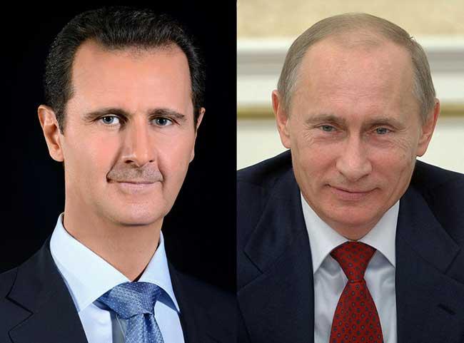 صورة الرئيس الأسد يتلقى برقية تهنئة من الرئيس فلاديمير بوتين بمناسبة عيد الجلاء