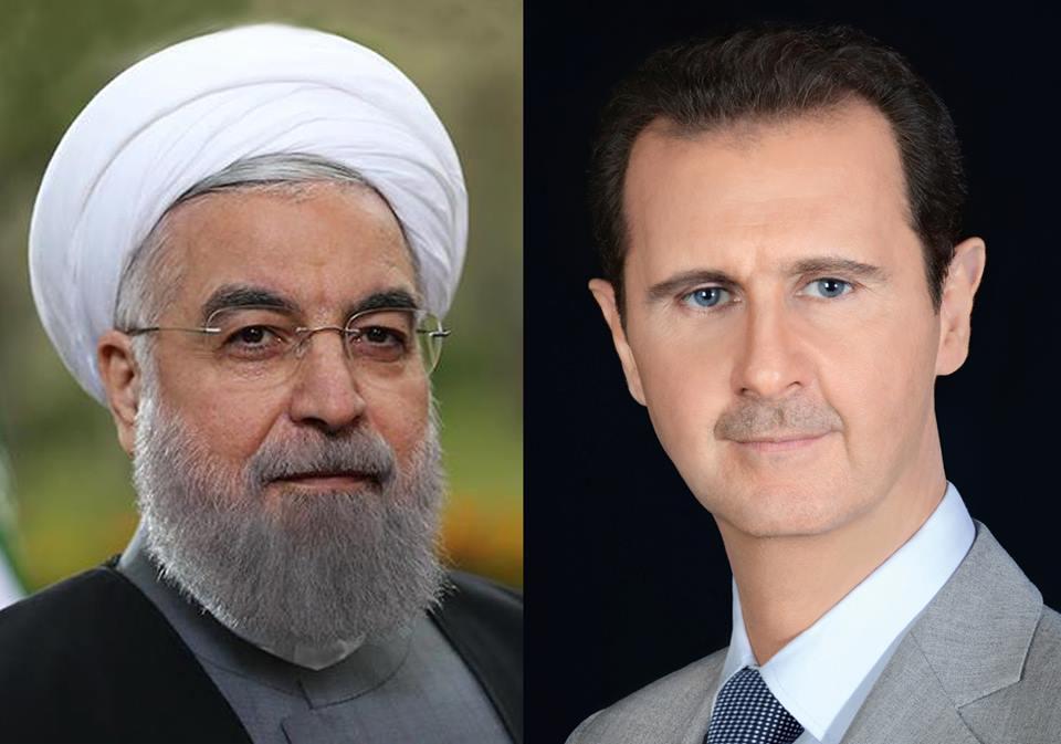 صورة الرئيس الأسد يعزي الرئيس روحاني بضحايا الهجمات الإرهابية على طهران