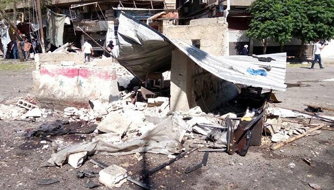 صورة الصور الأولية للتفجير الإرهابي بالقرب من ساحة التحرير في دمشق