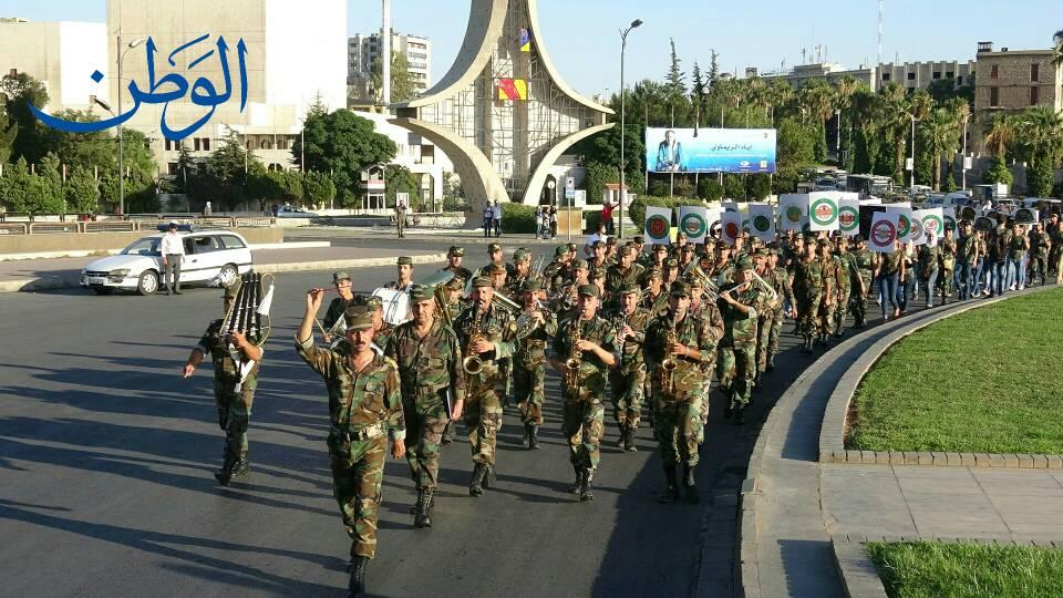 صورة بالصور: دمشق تحتفل بعيد الجيش في ساحة الأمويين