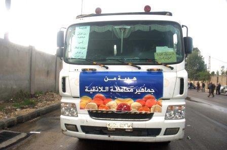 "Photo of 125 طن حمضيات ""هدية"" اللاذقية لدير الزور"