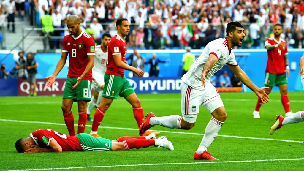 صورة بوحدوز يهدي الفوز لإيران في الثواني الأخيرة من لقاء المغرب