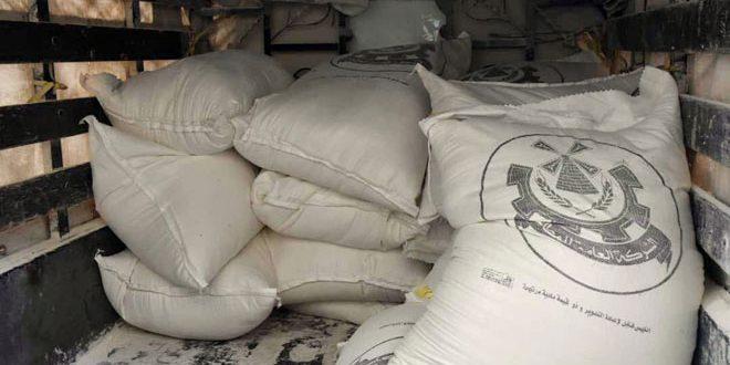صورة ضبط 55 طن دقيق تمويني مهرب في حماة