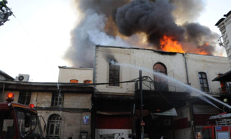 Photo of إخماد حريق في حي العمارة بدمشق