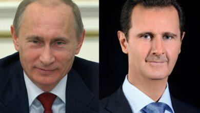 Photo of الرئيسان الأسد وبوتين يتبادلان برقيات التهنئة بمناسبة الذكرى الخامسة والسبعين لإقامة العلاقات الدبلوماسية بين البلدين