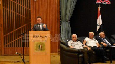 """صورة بمشاركة وزير الأشغال.. ندوة لـ""""إعادة الإعمار"""" وتطوير مشاريع الإسكان بحمص"""