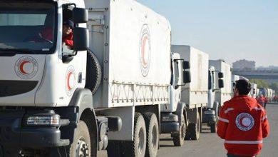 صورة الهلال الأحمر يدخل دفعة مساعدات غذائية إلى درعا البلد