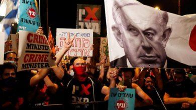 صورة تظاهرة حاشدة في تل أبيب ضد فساد نتنياهو