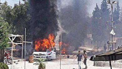 صورة مقتل وإصابة عدد من مرتزقة النظام التركي بانفجار سيارة مفخخة في عفرين