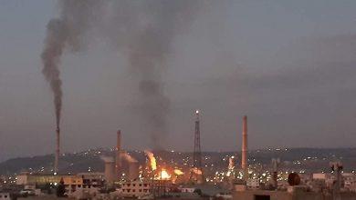 صورة حريق في وحدة تحسين البنزين بمصفاة بانياس