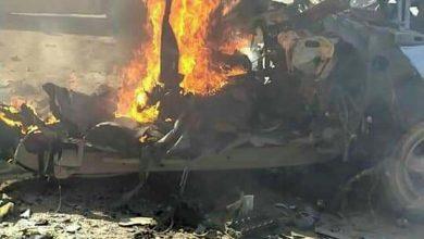 صورة مقتل مسلح واستشهاد عدد من المدنيين جراء انفجار سيارة مفخخة في مدينة رأس العين المحتلة