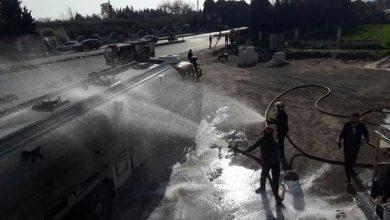 صورة إخماد حريق في صهريج بنزين قبل امتداده بحمص