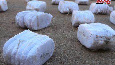 صورة ضبط 85 كغ من الحشيش المخدر معدة للتهريب إلى الأردن