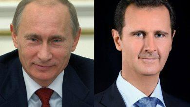 صورة الرئيس الأسد يتلقى برقية تهنئة من الرئيس بوتين بعيد الجلاء.. روسيا تدعم سيادة واستقلال وسلامة الأراضي السورية