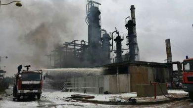 """صورة محافظ حمص لـ""""الوطن أون لاين"""" : إخماد الحريق الذي اندلع بمصفاة حمص بشكل كامل"""