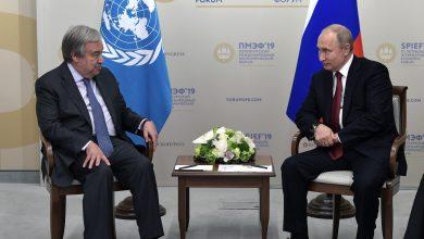 صورة بوتين وغوتيرش: العقوبات على سورية مقلقة ومستمرون بدعم العملية السياسية