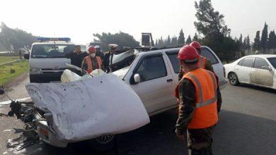 صورة إصابة 3 مواطنين بحادث سير مروع على اوتستراد حمص _ طرطوس