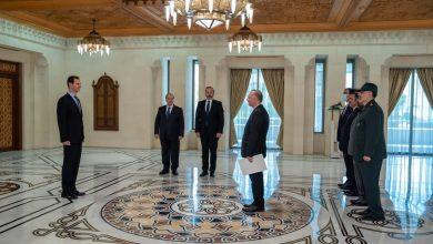 صورة الرئيس الأسد يتقبل أوراق اعتماد سفيري إيران وفلسطين لدى سورية