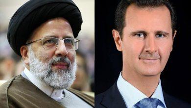 صورة الرئيس الأسد يهنئ نظيره الإيراني إبراهيم رئيسي
