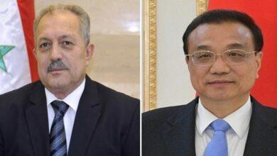 صورة رئيس مجلس الدولة الصيني لعرنوس: الصين مهتمة بتطوير العلاقات مع سورية