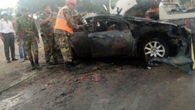 صورة وفاة شخصين و إصابة شخص بحادث سير مروع على اوتستراد حمص _ دمشق