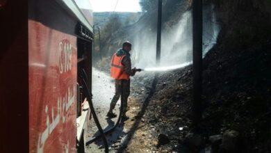 صورة إخماد حريق بأشجار زيتون على امتداد 5 دونمات في أراضي فاحل بريف حمص