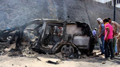 صورة قتلى وجرحى جراء انفجار عنيف في عدن