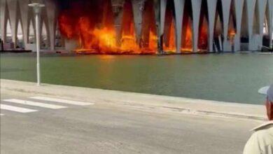صورة السيطرة على حريق ضخم في مسرح افتتاح مهرجان الجونة
