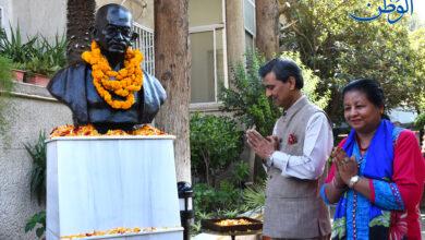صورة السفارة الهندية في سورية تحتفل بالذكرى 152 لميلاد المهاتما غاندي رسول السلام واللاعنف