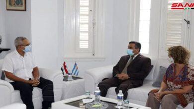 صورة مباحثات سورية كوبية لتعزيز العلاقات التجارية