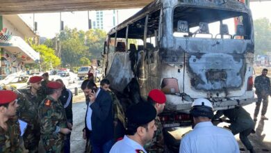 صورة تنظيم إرهابي يعلن عن نفسه ويتبنى تفجير المبيت العسكري بدمشق