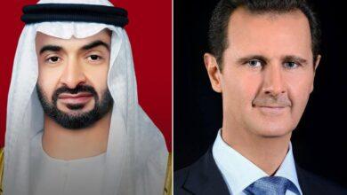 صورة الرئيس الأسد يجري اتصالاً هاتفياً مع ولي عهد أبو ظبي